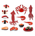 seafood sushi and rolls japanese sea food vector image