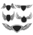 set empty emblems with wings design vector image vector image