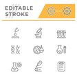 set line icons medical analysis vector image vector image