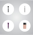 set of maquillage realistic symbols with contour vector image