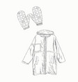 set winter clothing sketch vector image