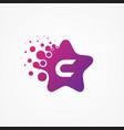 stars pixel for technology symbol letter c design vector image vector image