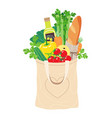 textile eco bag with natural products vector image