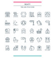 thin line design beauty icons vector image
