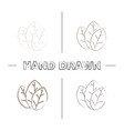 tobacco leaf hand drawn icons set vector image vector image