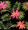 tropical lotus flowers leaves seamless black vector image vector image