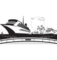view to sea from deck cruise ship vector image vector image