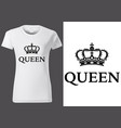 women white t-shirt with royal crown vector image vector image