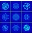 Set of Magic Blue Glow Mandalas vector image