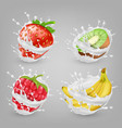 3d realistic berries fruits in milk vector image vector image