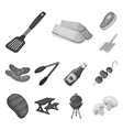 barbecue and equipment monochrome icons in set vector image