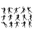 basketball players action silhouettes vector image vector image