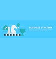 business strategy banner with chessboard vector image vector image