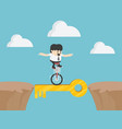 businessman drive bicycle for target vector image vector image