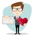 Businessman Holding a Heart and Envelope vector image vector image