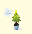cartoon christmas tree in pot vector image vector image