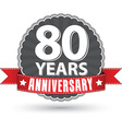 Celebrating 80 years anniversary retro label with vector image