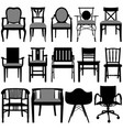 chair design a set of silhouette showing chair vector image