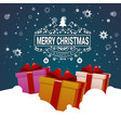 christmas poster colorful gift boxes in snow vector image vector image