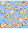 Christmas seamless pattern with cute gingerbread vector image vector image