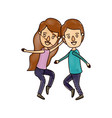 color crayon stripe cartoon full body couple vector image