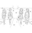 coloring book of girls in fur coats on runway vector image