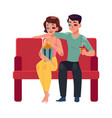 couple seating in cinema movie theatre vector image vector image