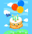 cute birthday cake with balloons vector image vector image