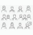 doctor and nurse line icon set vector image vector image