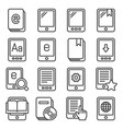 e-book reader icons set on white background line vector image