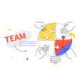 efficient teamwork - colorful line design style vector image
