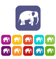 elephant icons set flat vector image vector image