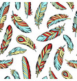 ethnic bird feathers hand drawn seamless pattern vector image vector image