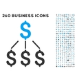 financial structure icon with flat set vector image vector image