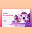 flat cartoon design concept cloud computing vector image vector image