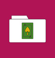 flat icon design collection playing card on folder vector image vector image