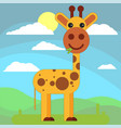 giraffe in cartoon flat style on the background vector image