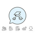 graduation caps line icon education sign vector image