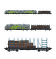 green locomotive with railway platform vector image vector image