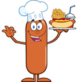 Happy Chef Sausage Cartoon vector image vector image