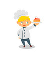 happy little boy holding plate with tasty cake vector image vector image