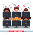 kids learn coding on laptops in school vector image