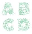 letters a b c d pattern logo farm fresh fruits vector image vector image