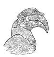 Line art for coloring of great hornbill bird on vector image vector image