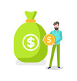 male with bag money investing person vector image vector image