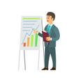 man making report near board with graphs and chart vector image