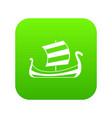 medieval boat icon digital green vector image vector image