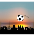 Paris skyline with football ball vector image vector image
