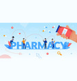 pharmacy word letters and tiny people flat poster vector image vector image