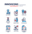 photography - line design icons set vector image